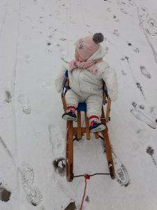 sneeuwpret met de slee