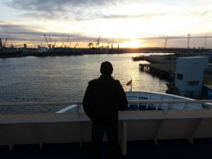 zonsondergang boot terug