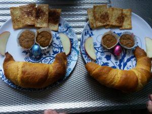 dagboek ontbijt voor de kinderen gezichtje